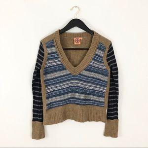 Tory Burch large Sweater Deep Vneck Blue Brown